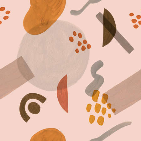 Simple minimalism seamless pattern with gouache pastel color shapes, dots and stains, vanguard style.