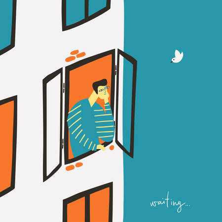 Lonely guy look at the window and wait offline life. Ilustração