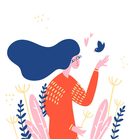 Woman with long hair walking in the meadow between different herbs and see the little bird.
