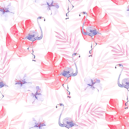 Watercolor seamless pattern with tropic birds flamingos and jungle plants and flowers.