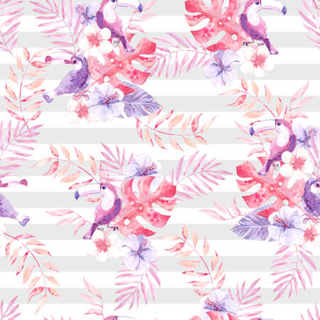 Watercolor seamless pattern with tropic birds toucans and jungle plants on the striped background.