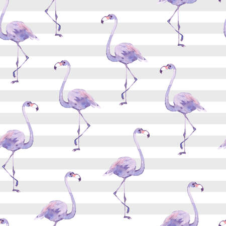 Watercolor seamless pattern with tropic birds flamingos on the striped background. Zdjęcie Seryjne