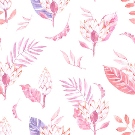 Watercolor seamless pattern with palm leaves and exotic leaves and flowers.