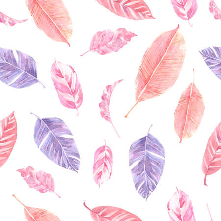 Watercolor seamless pattern with palm leaves, monstera leaves and exotic leaves. Zdjęcie Seryjne