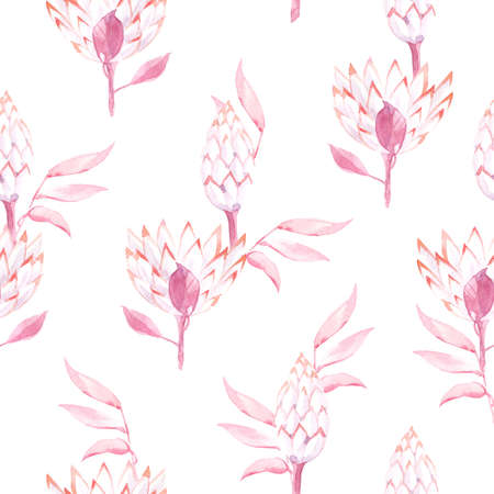 Watercolor seamless pattern with leaves and exotic leaves and flowers.