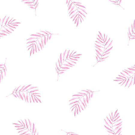 Watercolor seamless pattern with pink palm leaves.