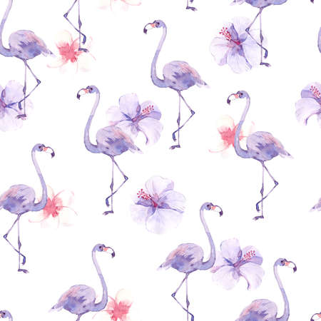 Watercolor seamless pattern with tropic birds flamingos and exotic flowers.