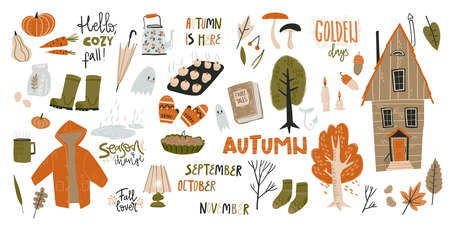 Big collection of fall doodle elements. Cozy things, clothes, harvest, food and nature. Vector Illustratie