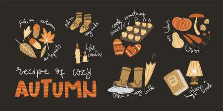 Poster with cozy autumn tips. Simple cute illustration Vektorgrafik