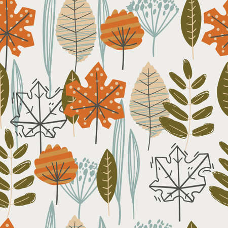 Seamless pattern with autumn leaves. Herbarium. Fall spirit.