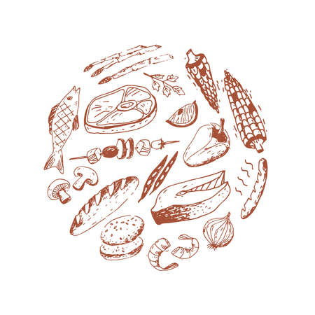 Doodle food illustration in the round. Fish, meat, vegetables and other different things.