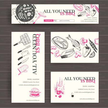 Vector ready design template for grill restaurant, all for BBQ shop. Site header, business card, brochure and flyer. Doodle style, bright colors.