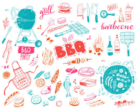 BBQ doodle set. Different elements, food, vegetables, fish and meat, equipment. Vector illustration.