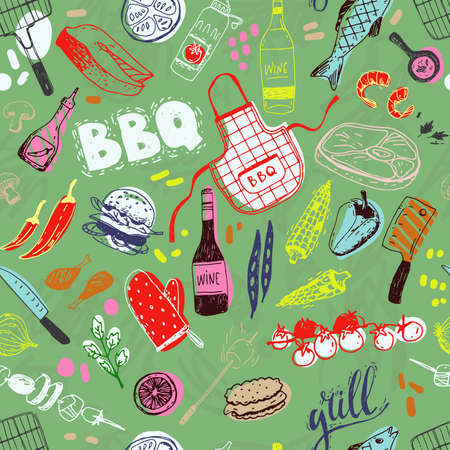 Summer barbecue seamless pattern with traditional elements, food, equipment.