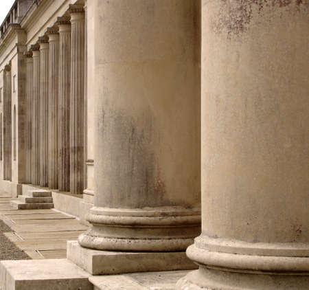 Row of columns on a building facade                                Stock Photo