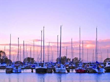 Boats in the marina on Lough Neagh at Kinnego, Co. Armagh, Ireland