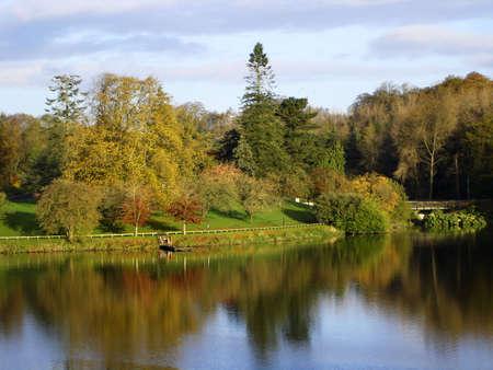 Early autumn morning scene on Dungannon lake, Ireland                               Stock Photo
