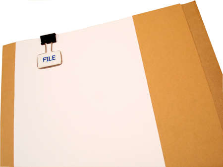 Manila folder with white page attached, on white background                             Stock Photo
