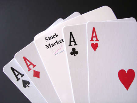 Poker Aces and a stock market card, white on black