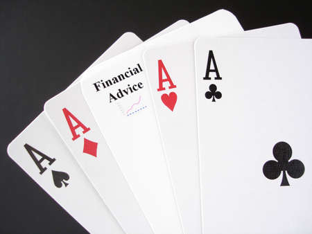 Poker Aces and a Financial Advice card, white on black