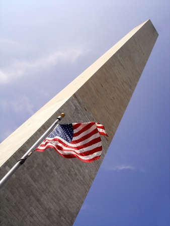 Washington Monument,Washinton DC with Stars and Stripes Stock Photo - 1920872