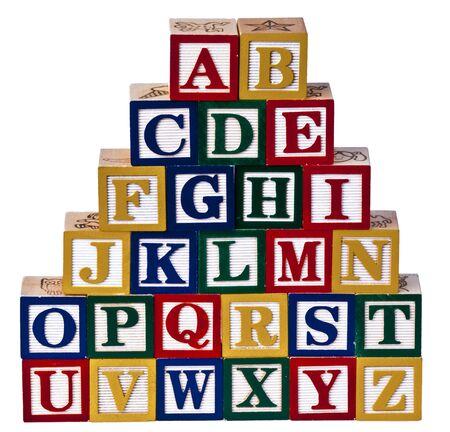 bloques: Alfabeto bloques de madera Foto de archivo