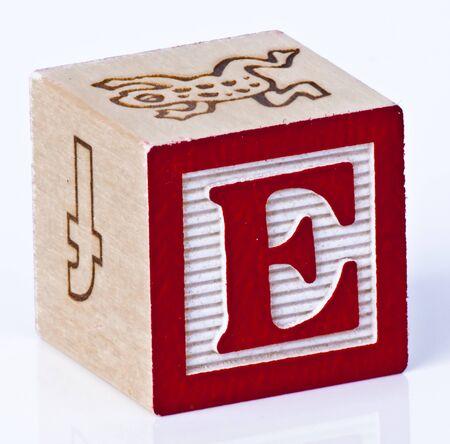 Wooden Block Letter E photo