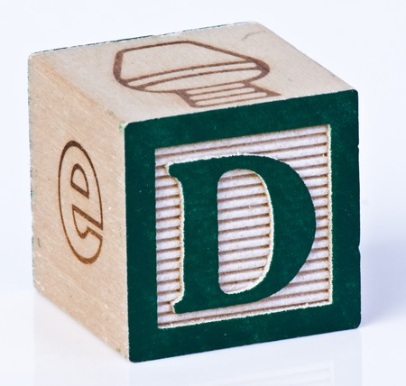 painted wood: Wooden Block Letter D