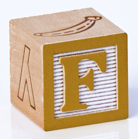 carved letters: Wooden Block Letter F Stock Photo