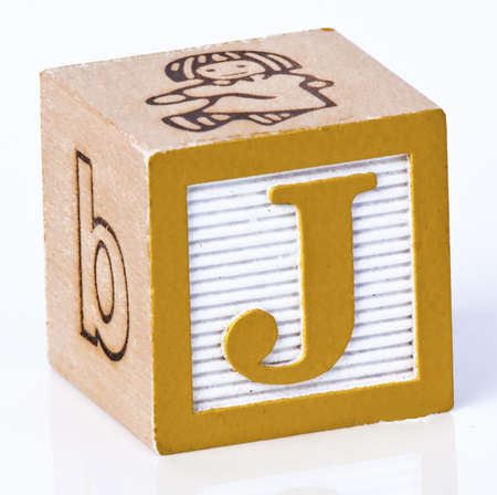 carved letters: Wooden Block Letter J