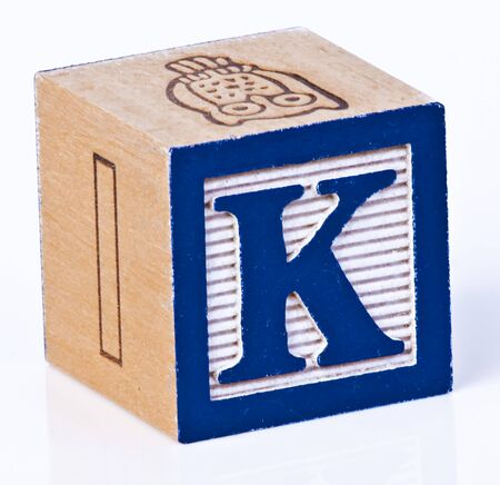 carved letters: Wooden Block Letter K