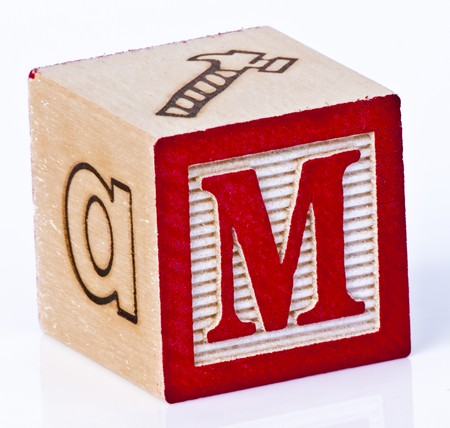 wood block: Wooden Block Letter M