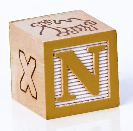 wooden block: Wooden Block Letter N Stock Photo