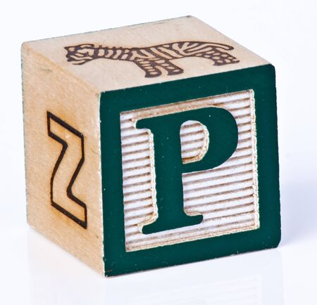 painted wood: Wooden Block Letter P Stock Photo