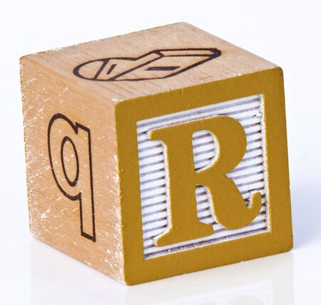 Wooden Block Letter R photo