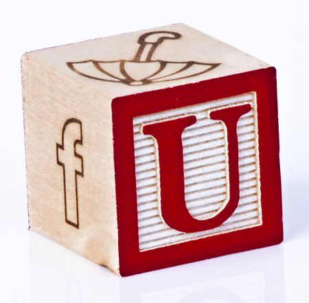 Wooden Block Letter U photo