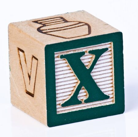 carved letters: Wooden Block Letter X