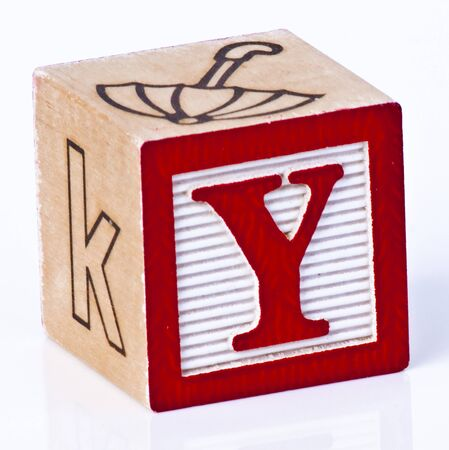 carved letters: Wooden Block Letter Y Stock Photo