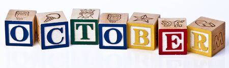 Wooden Childrens Blocks Month October photo