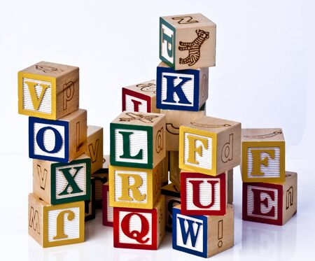 Wooden Childrens Blocks Mixed full color photo