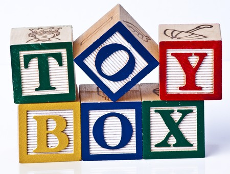 Wooden Childrens Blocks toy box photo