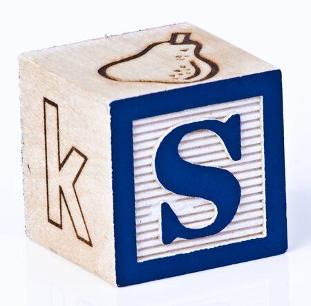 letter blocks: Single Childs Block Letter S
