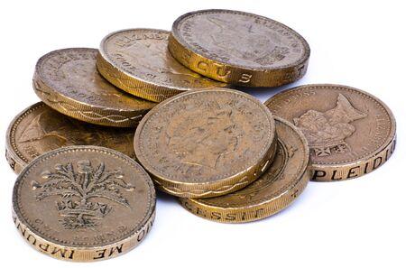 pound coins: Pound coins in heap cash