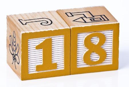 eighteen: Building Block Number Eighteen  Stock Photo