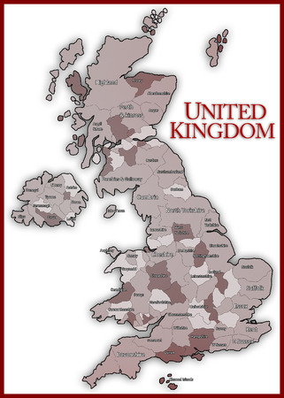 state boundary: Brown Map of United Kingdom
