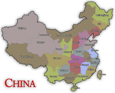 state boundary: Chinese Map Stock Photo