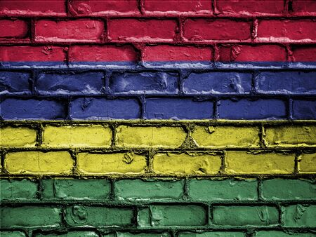 royalty free photo: National Flag of Mauritius on a Brick Wall