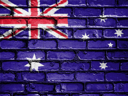 royalty free photo: National Flag of Australia on a Brick Wall