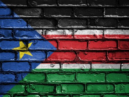 royalty free photo: National Flag of South Sudan on a Brick Wall