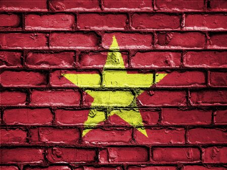 flag: National Flag of Vietnam on a Brick Wall